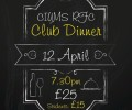Club Dinner: 12th April